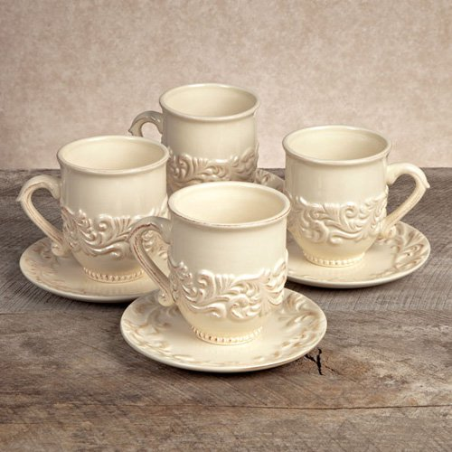 GG Collection Ceramic Cup and Saucer - Cream - Set of 4