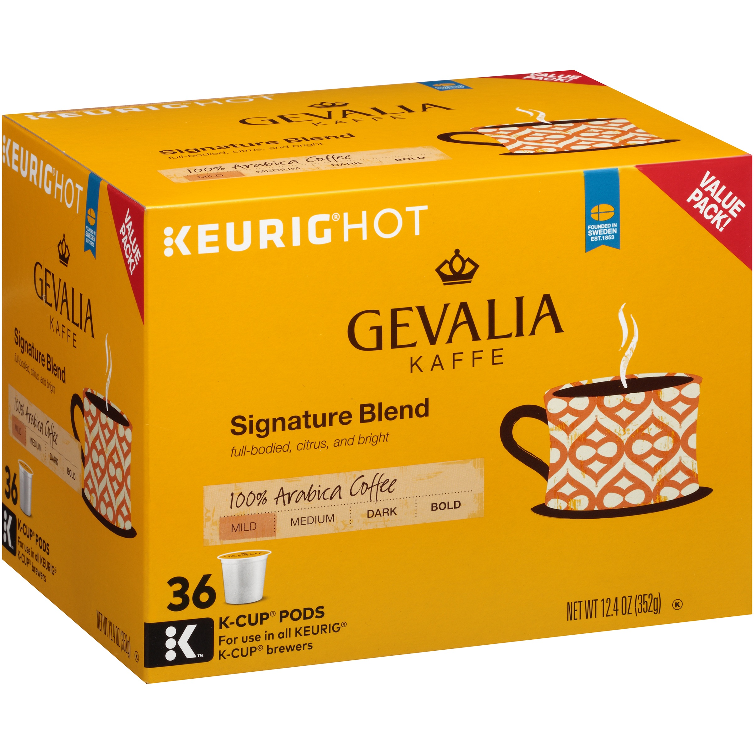 Gevalia Kaffe Signature Blend Mild Roast Coffee K-Cup Packs, 36 count, 12.4 OZ (352g)