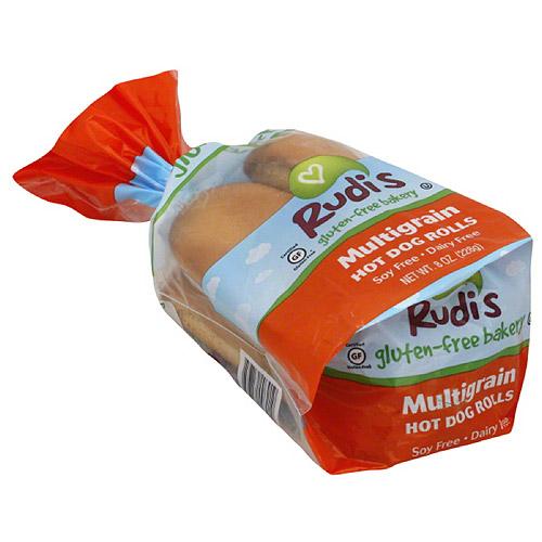 Rudi's Gluten-Free Bakery Multigrain Hot Dog Buns, 4 count, (Pack of 8)