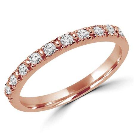 Majesty Diamonds MD170322-4.5 0.25 CTW Round Diamond Semi-Eternity Wedding Band Ring in 14K Rose Gold, Size 4.5 - image 1 of 1