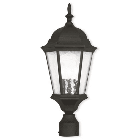 Outdoor Pendants 3 Light With Clear Water Glass Cast Aluminum Textured Black size 10 in 180 Watts - World of Crystal ()