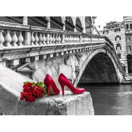 Sports Posted Heel - Bunch of red roses and red high heel shoes Rialto Bridge Venice Italy Poster Print by  Assaf Frank