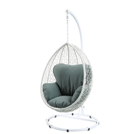 Patio Swing Chair With Stand In Green Fabric And White Wicker - Synthetic Wicker, Steel, Polyester, -