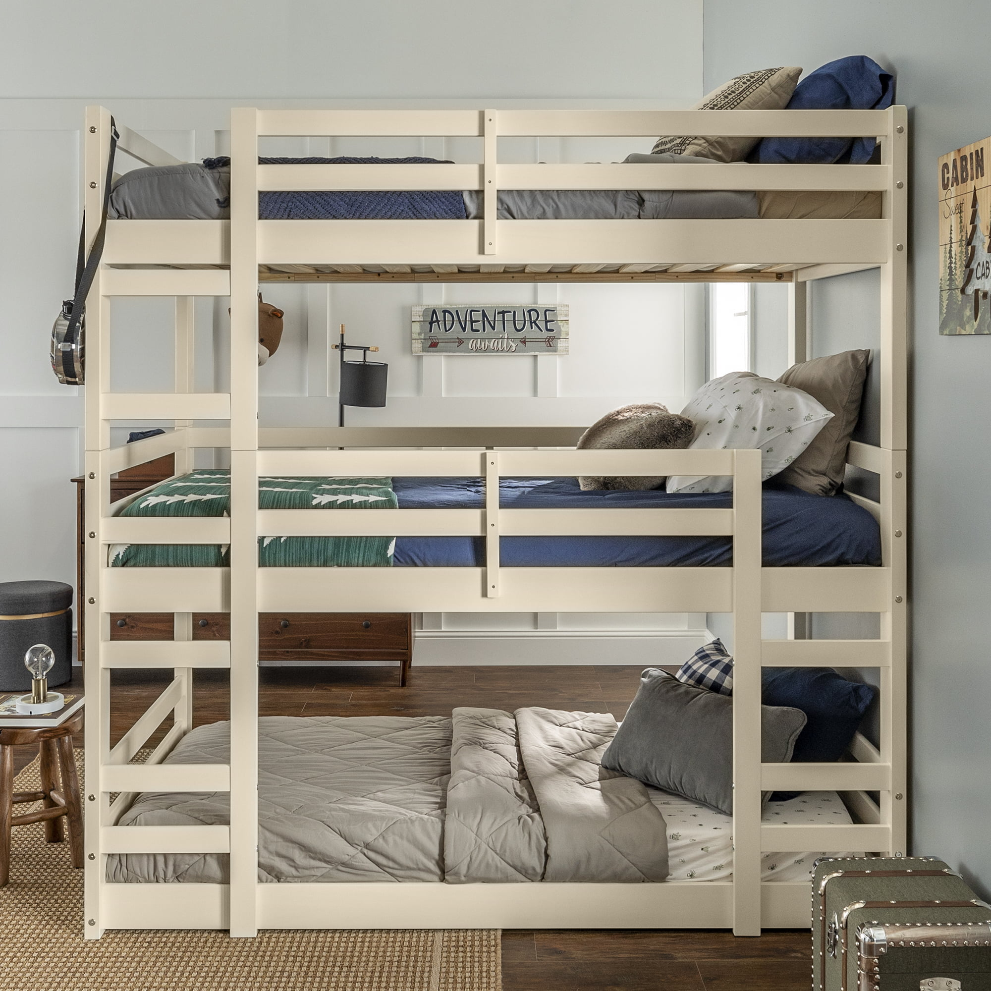 Picture of: Manor Park Solid Wood Triple Bunk Bed Twin Over Twin White Walmart Com Walmart Com