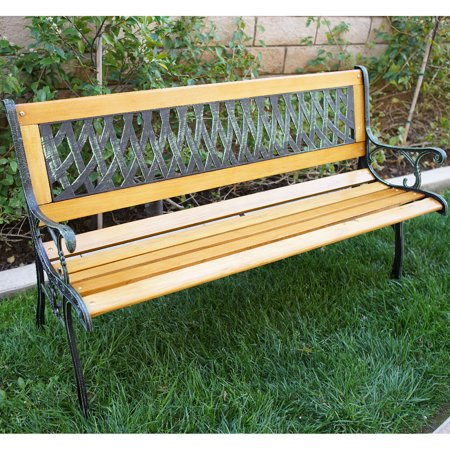 Clara Bench - Belleze Outdoor Garden Bench Path Porch Patio Seat Cast Iron Hardwood