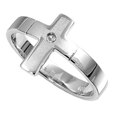 Clear CZ Sideways Cross Satin Finish Ring ( Sizes 4 5 6 7 8 9 ) .925 Sterling Silver Band Rings by Sac Silver (Size 7) (Satin Band Sterling Silver Ring)
