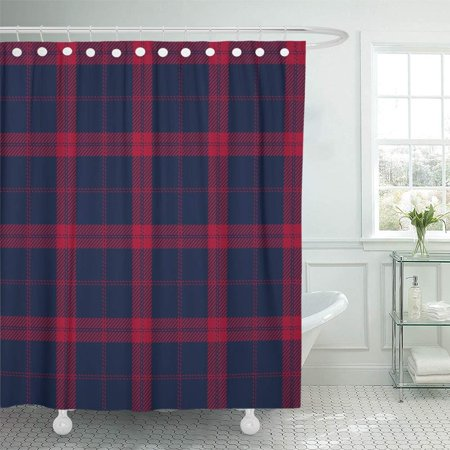 PKNMT Abstract Navy and Red Tartan Christmas Classic Color Material Plaid Scottish Bathroom Shower Curtain 66x72 inch ()