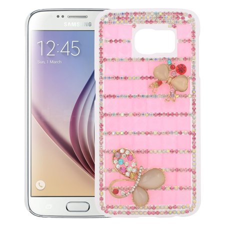 EagleCell Checker Hard Diamante Cover Case For Samsung Galaxy S6 - Pink/Gold