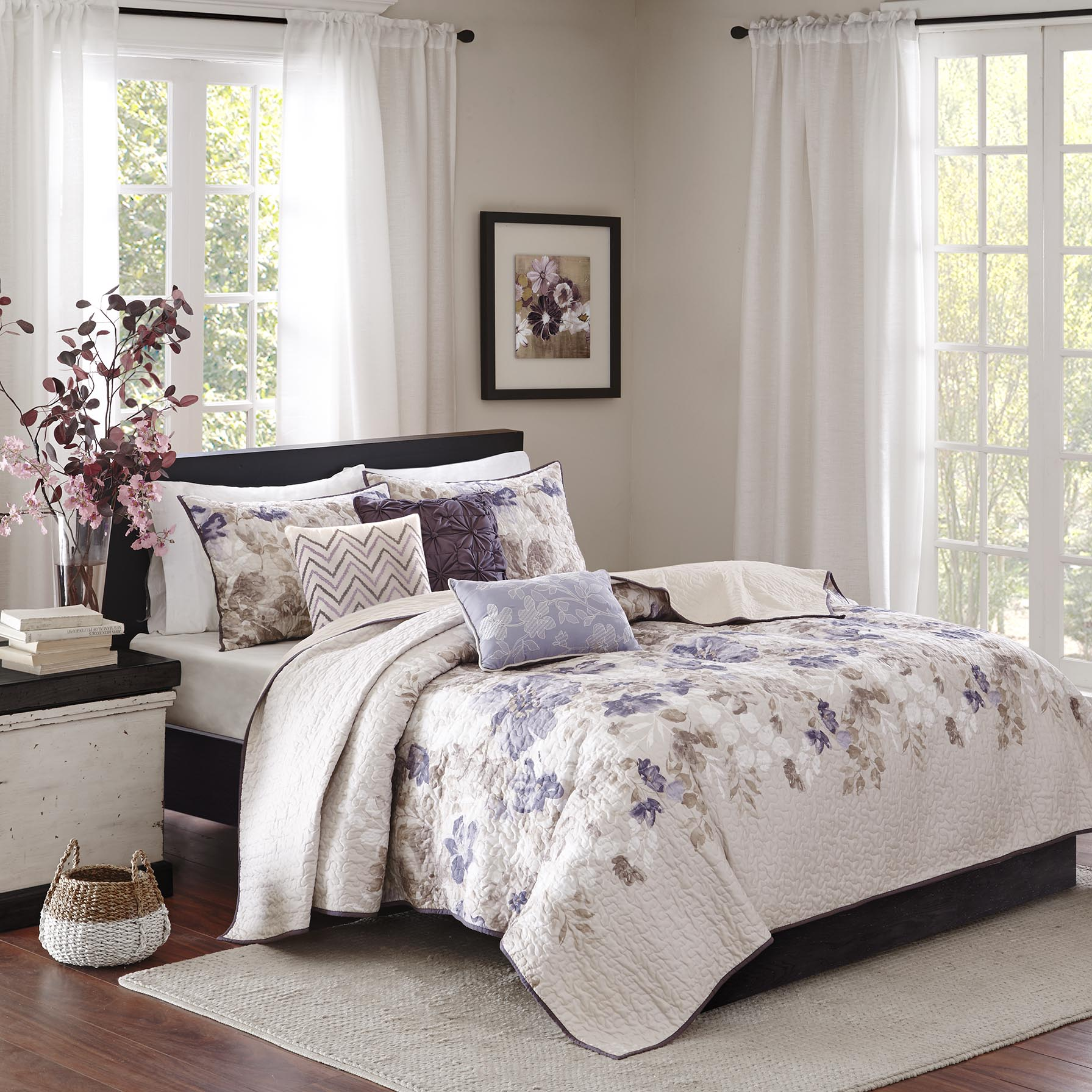 Home Essence Willow 6 Piece Reversible Printed Coverlet Bedding Set