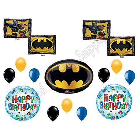 Lego Batman Birthday Party Supplies (LEGO Batman Movie Emblem Birthday Party Mylar Balloon Decorations)