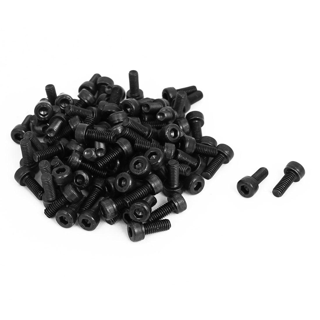 Unique Bargains M4x10mm Alloy Steel Hex Bolt Socket Head Cap Machine Screws Black 100pcs