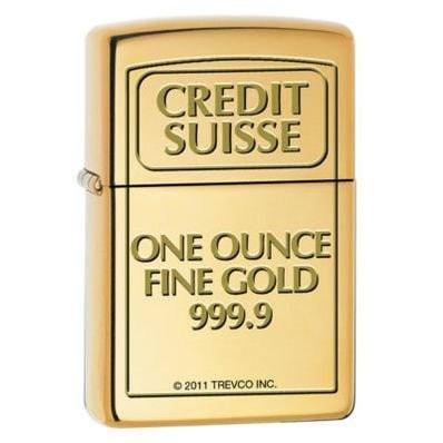 Zippo Lighter   Credit Suisse One Ounce Fine Gold High Polish Brass