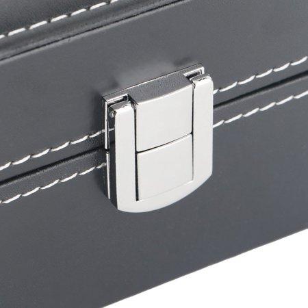 Black Plain Pattern 2 Grid PU Leather Watches Display Case Boxes Storage Box - image 8 de 10