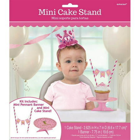 1st Birthday 'Pink and Gold' Mini Cake Stand w/ Banner - Banner Stands 4 Less