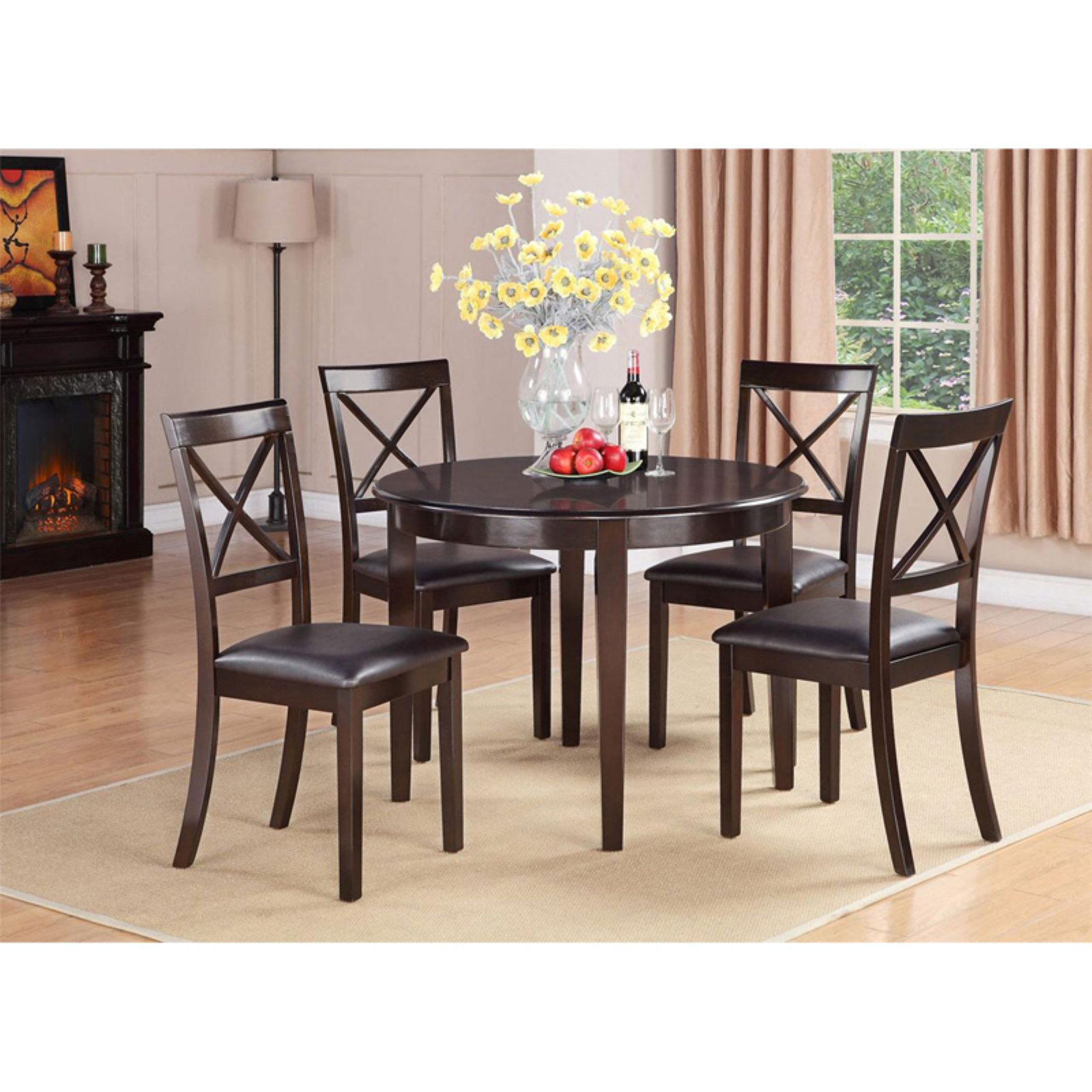 East West Furniture Boston 3 Piece Round Dining Table Set with Microfiber Seat Chairs