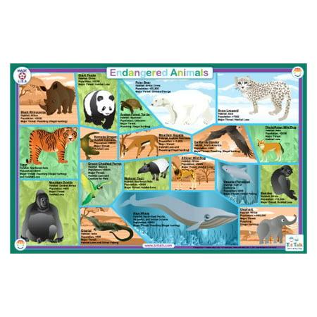 Placemat - Tot Talk - Endangered Animals Meal Dinning Kids Mat tot1047 - image 2 de 2