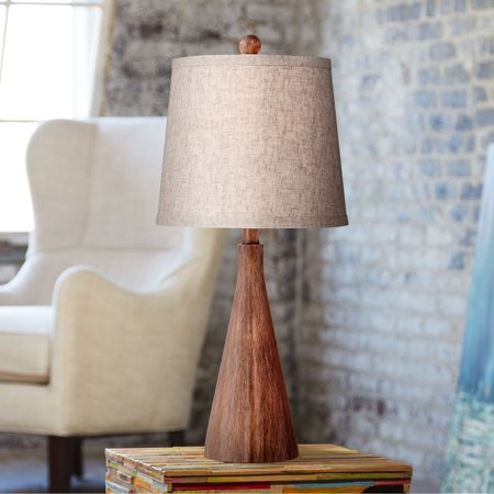 Acrylic Modern Table Lamp - 360 Lighting Mid Century Modern Accent Table Lamp Wood Cone Oatmeal Drum Shade for Living Room Family Bedroom Bedside Nightstand