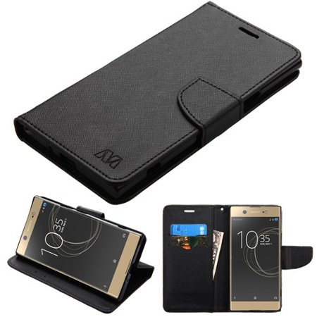 For Sony Ericsson Xperia XZ Premium Black Pattern/Black Liner Flip Wallet Case (Ericsson Cell Phone Accessories)