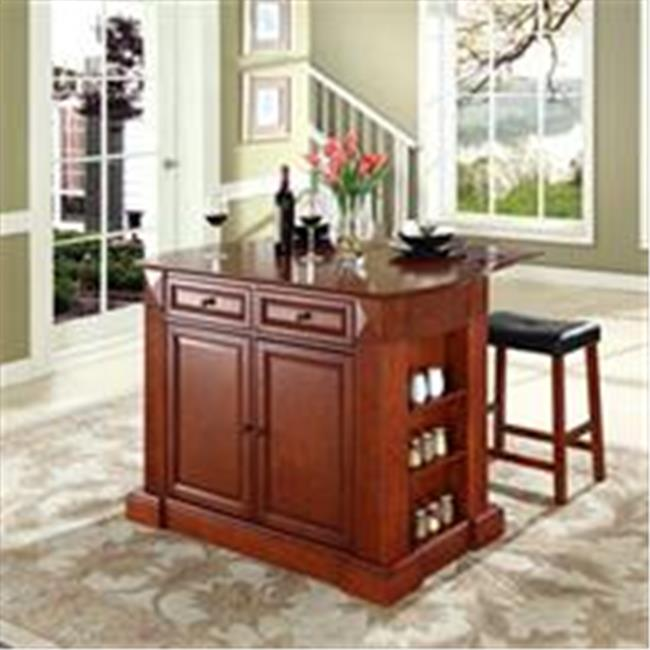 Crosley Furniture  Drop Leaf Breakfast Bar Top Kitchen Island in Cherry Finish with 24 in. Cherry Upholstered Saddle Stools