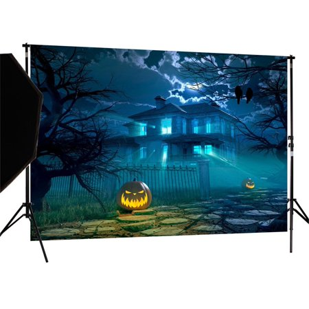 HelloDecor Polyster 7X5ft Halloween Pumpkin Blue Night Photography Backdrop Photo Background studio prop](Halloween Pumpkin Background)