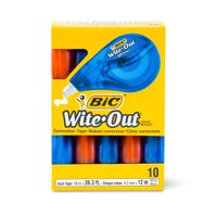 BIC Wite-Out Brand EZ Correct Correction Tape, White, 10 Count