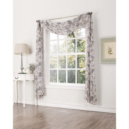 Athena Crushed Voile Print Window Curtain Scarf