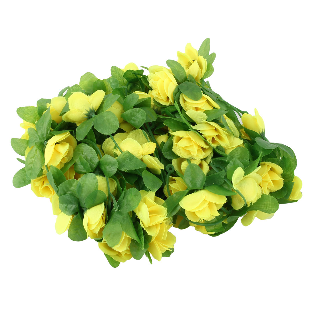 Home Wedding Plastic Artificial Flower Hanging Ivy Vine Yellow 7.2ft Length 2pcs