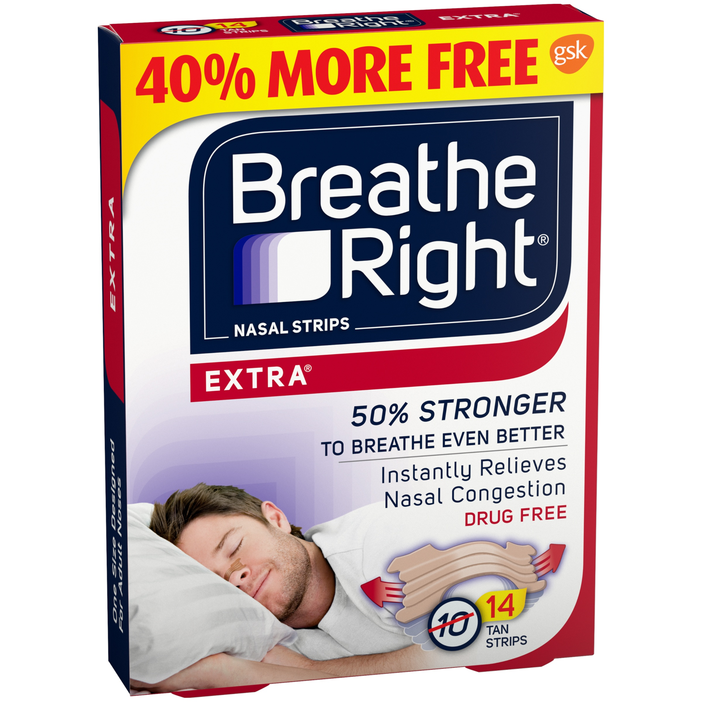 Breathe Right® Extra® Tan Nasal Strips 14 ct Box