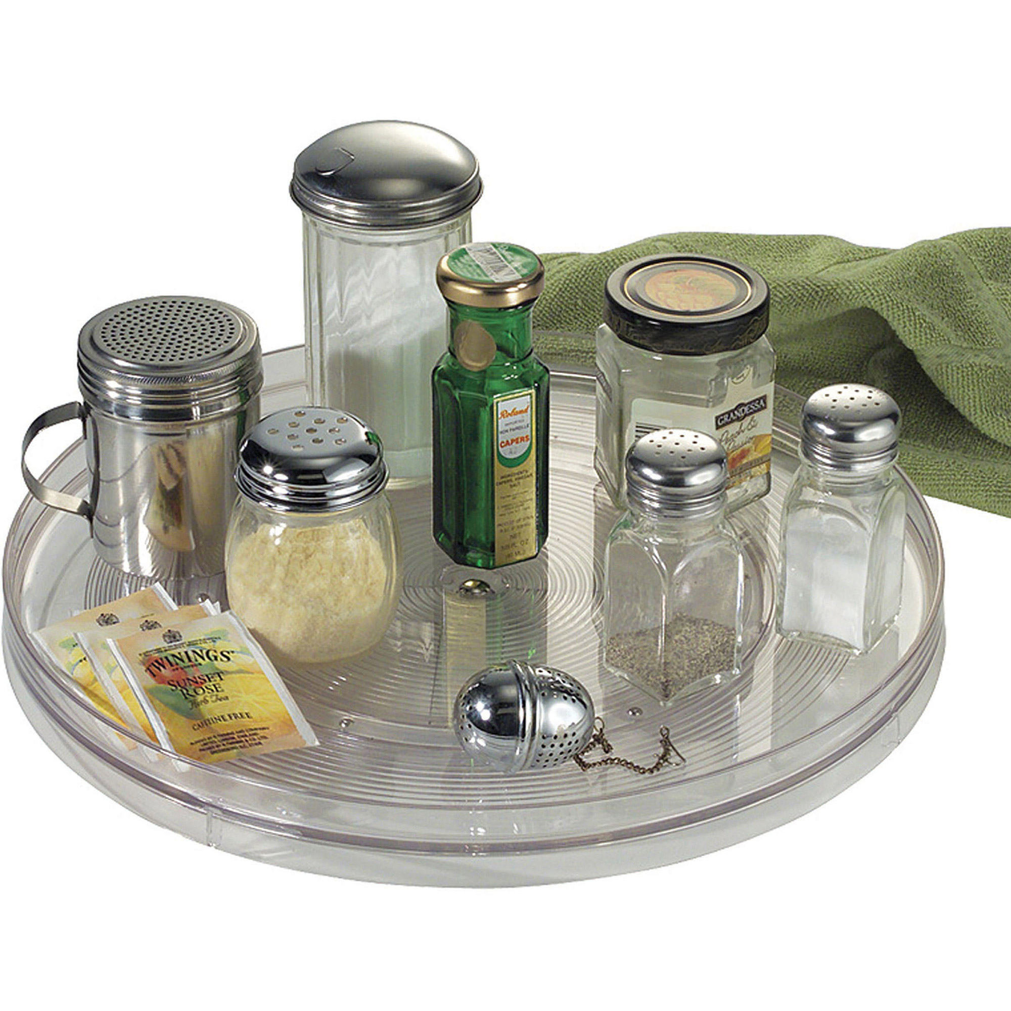"""InterDesign Linus Lazy Susan Turntable Spice Organizer Rack for Kitchen Pantry, Cabinet, Countertops, 14"""", Clear"""