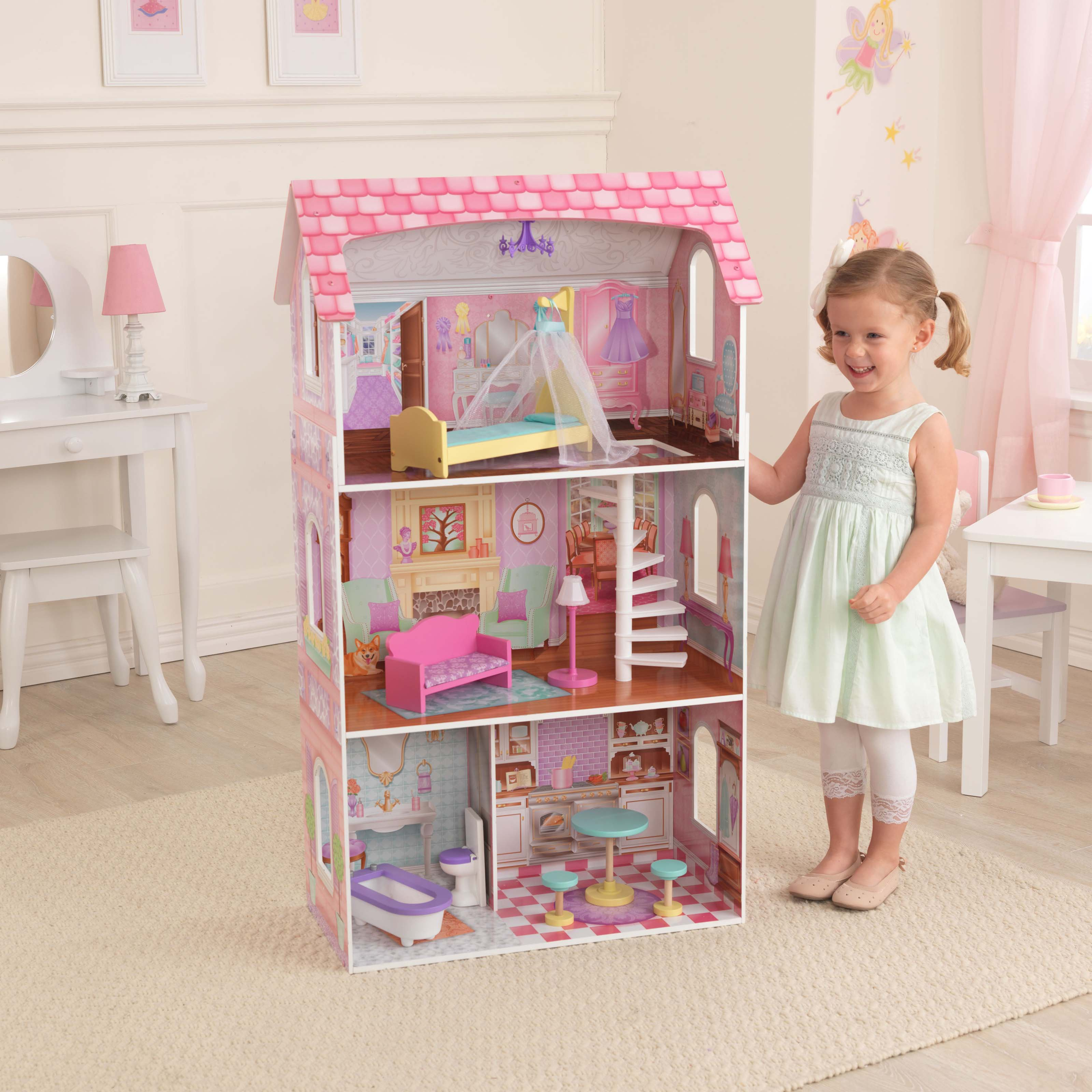 KidKraft Penelope Wooden Dollhouse with 9 Pieces of Furniture