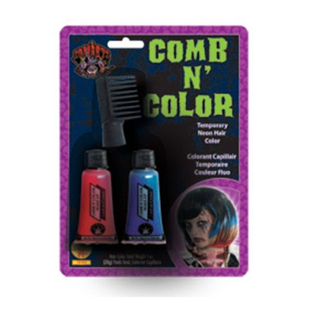 Ghoul Ghost Zombie Punk Costume Accessory Comb & Color Temporary Hair Color Kit - Zombie Hair