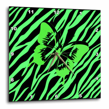 3dRose Lime Green Butterfly On Lime Zebra - Wall Clock, 10 by (Bright Lime Zebra)