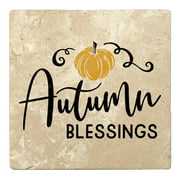 "Set of 4 Absorbent Stone 4"" Fall Autumn Coasters"