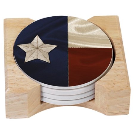 CounterArt Texas Flag Design Absorbent Coasters in Wooden Holder, Set of