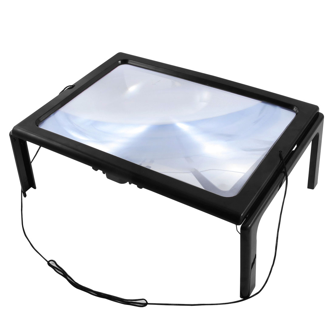 Unique Bargains Reading LED Lights Decor Cord Sheet Foldable Hands Free Full Page Magnifier