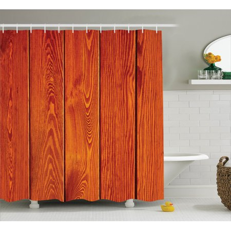 Brown Shower Curtain Set Wood Texture With Natural Patterns Oak Timber Tree Floor Decorative Design Home Bathroom Decor Burnt Orange By Ambesonne