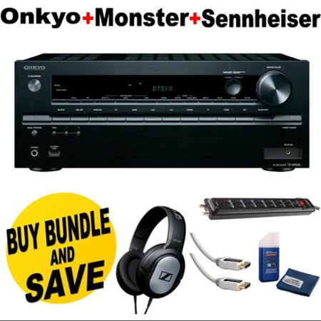 Onkyo TX-NR646 7.2-Channel Network A V Receiver + Sennheiser HD201 Lightweight Over-Ear Binaural Headphones +... by