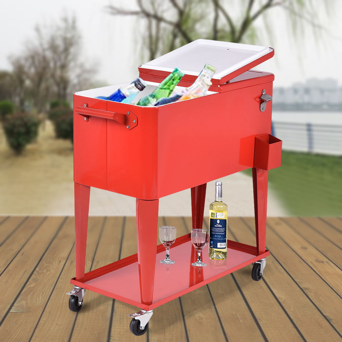 Costway 80-quart Cooler Beer Cart Outdoor Entertaining Rolling Party Steel Bar Bistro