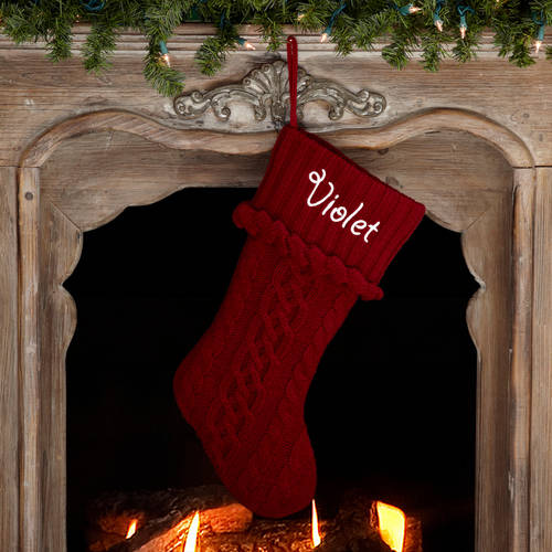 Personalized Snowflake Knit Christmas Stocking, Available in 11 Designs