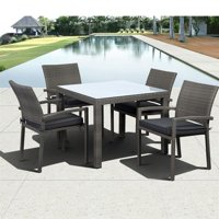 Liberty Square 5-Piece Armchair Dining Set Grey with Grey Cushions