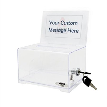 Adir Acrylic Donation & Ballot Box With Lock (6.25 x 4.5 x 4) - Clear