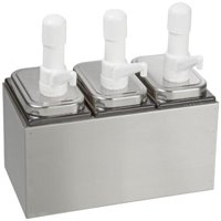 "San Jamar P9713 Stainless Steel Condiment Pump Service Center with 3 Wells Black Jars, 14"" Length x 7-7 8""..."
