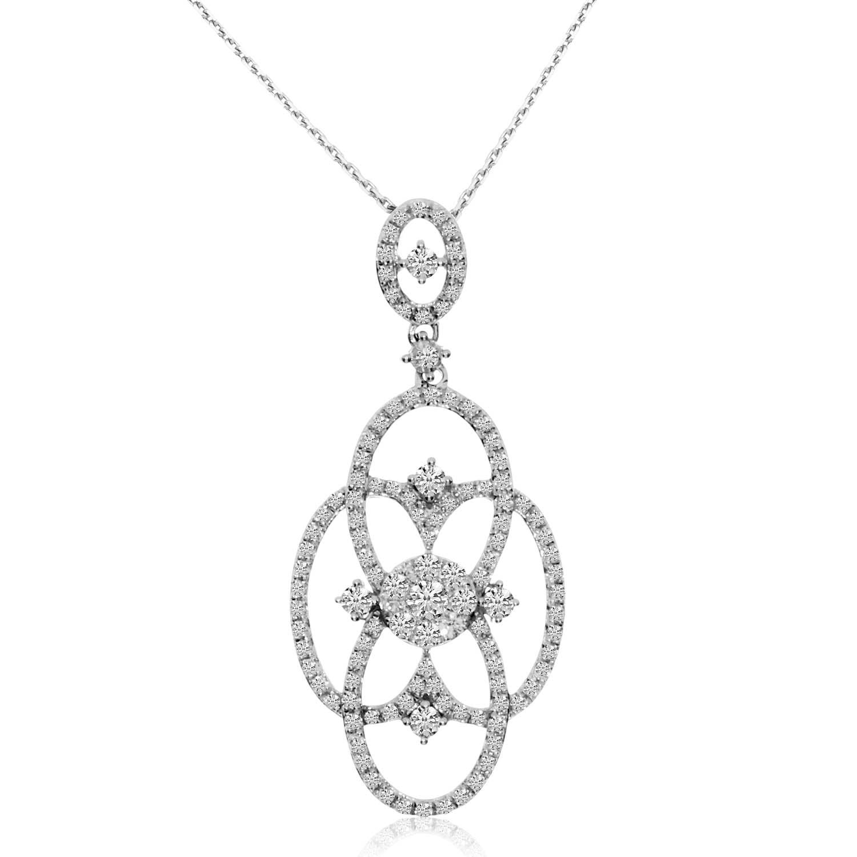 Direct 14K White Gold Diamond Clustaire Fashion Pendant w...