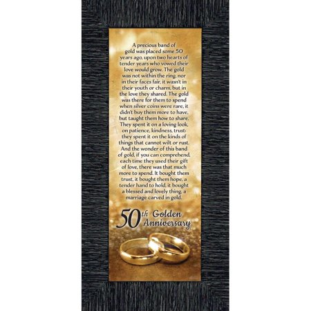 Bands of Gold, 50th Golden Wedding Anniversary Gift Picture Frame, 6x12