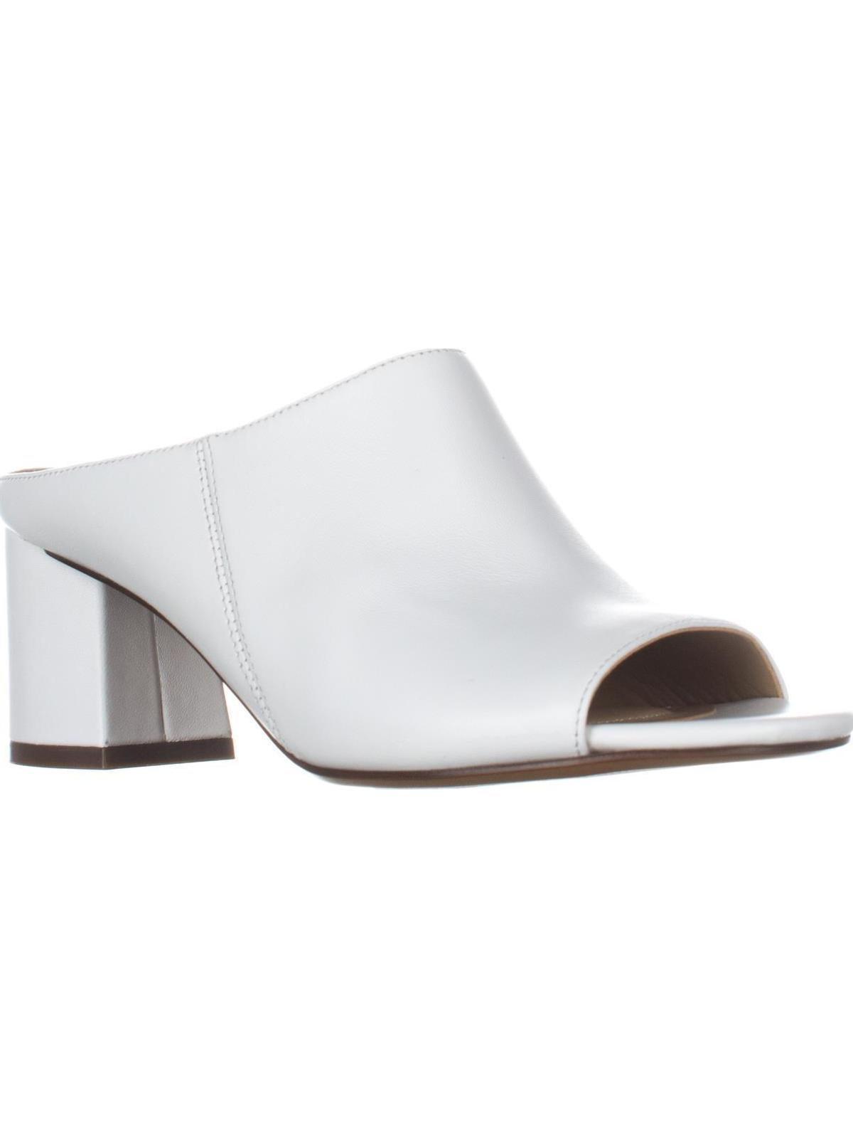 Womens Naturalizer Cyprine Slide Mule Peep Toe Sandals, White by Naturalizer