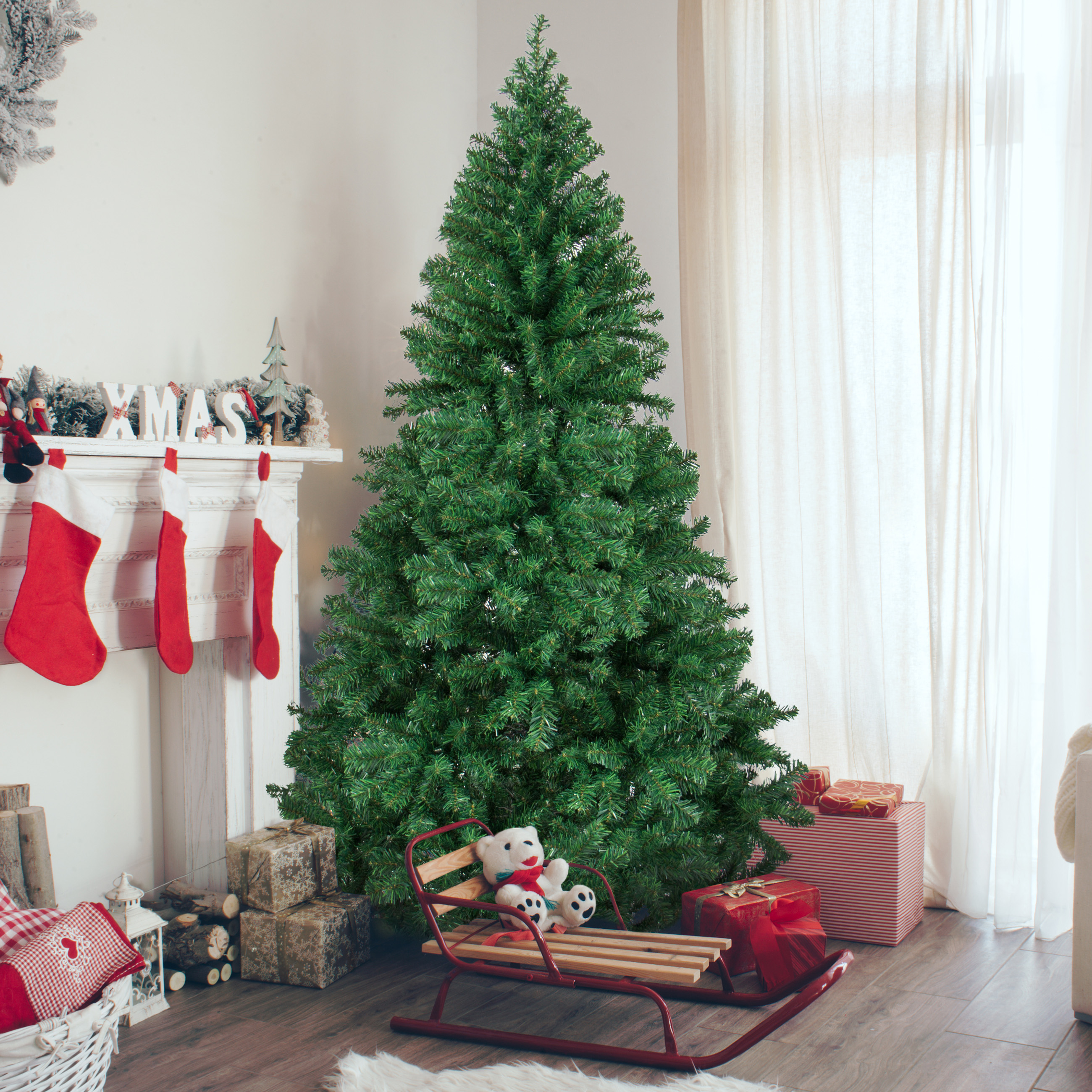 6' Premium Artificial Christmas Pine Tree with Solid Metal Legs, 1000 Tips, Full Tree