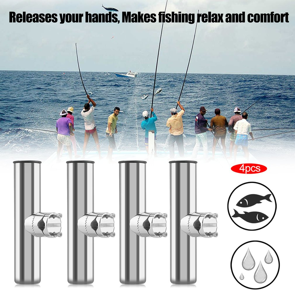 Fishing Poles Clearance 4 Pcs 316 Stainless Steel Clamp Fishing Pole Rod Holder For Rails 7/8-1inch Boat