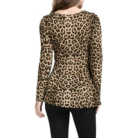 40d4822c07bc90 Allegra K Ladies Leopard Prints Scoop Neck Stretchy Peplum Shirt Beige  Black XL - image 1 ...