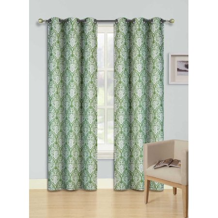 F12 Green 2-Pc Printed Blackout Room Darkening Window Curtain Treatment, Set Of Two (2) Floral Swirl Pattern Insulated Thermal Panels 37