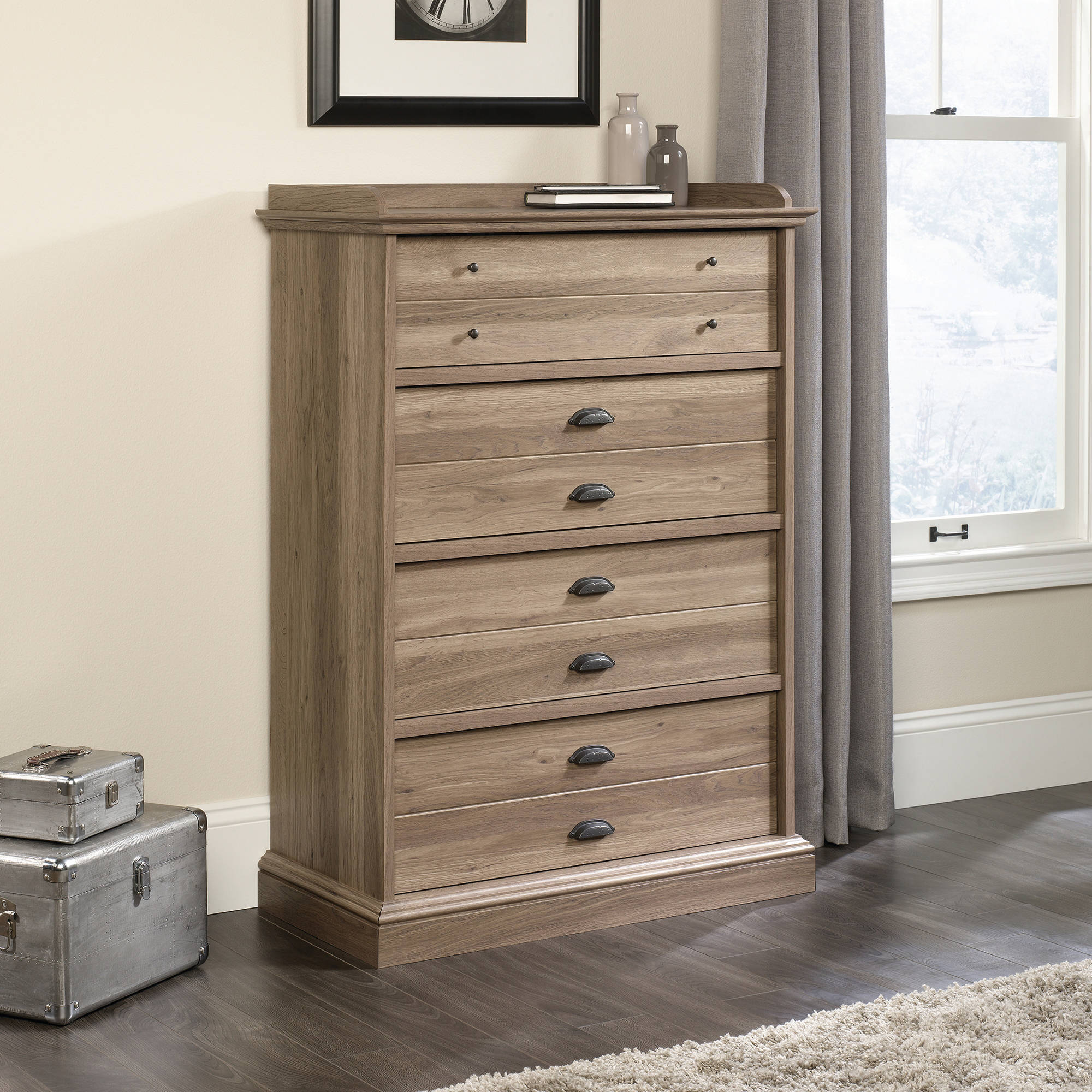 Sauder Barrister Lane 4-Drawer Chest, Salt Oak Finish by Sauder Woodworking